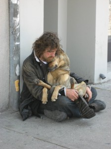 homeless man with dog