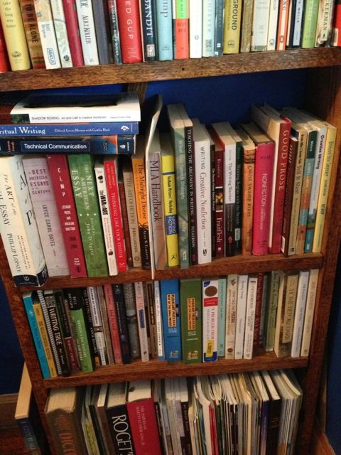 My shelves of book on writing.
