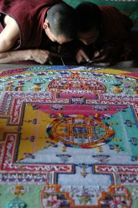 Buddhist Monks Working on a Sand Mandala